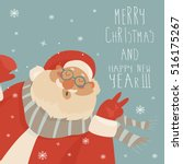 vector christmas card with... | Shutterstock .eps vector #516175267
