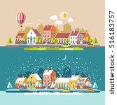 cityscape. the city in winter... | Shutterstock .eps vector #516183757