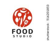 food studio logo. kitchen tools.... | Shutterstock .eps vector #516201853
