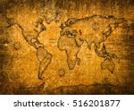 vintage world map with grunge... | Shutterstock . vector #516201877