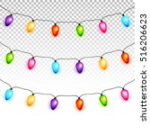 christmas light bulbs garlands... | Shutterstock .eps vector #516206623