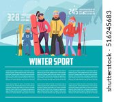 winter sport template. skier... | Shutterstock .eps vector #516245683