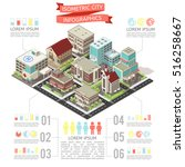 isometric city infographics... | Shutterstock .eps vector #516258667