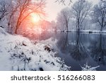 Winter Forest On The River At...