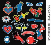 set of stickers  pins  patches
