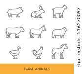 line farm animals isolated on... | Shutterstock .eps vector #516270097