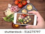hands taking photo egg muffins... | Shutterstock . vector #516275797