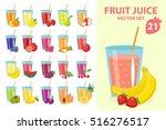 Fruit Juice In Glass  Vector...
