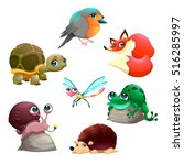 Group Of Cute Isolated Animals...