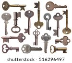 set of old keys isolated on... | Shutterstock . vector #516296497