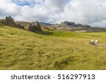 Rough Rocks On Grassy Hills An...
