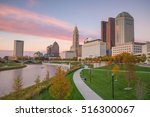 Small photo of View of downtown Columbus Ohio Skyline at twilight