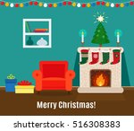 christmas card with fireplace... | Shutterstock .eps vector #516308383