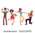 set of friends having fun at a... | Shutterstock .eps vector #516313993