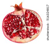 half of pomegranate isolated on ... | Shutterstock . vector #516324817