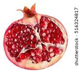 Half Of Pomegranate Isolated O...