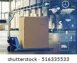 manual forklift pallet with a... | Shutterstock . vector #516335533