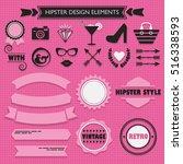 hipster feminine black...   Shutterstock .eps vector #516338593