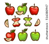 fresh green and red apples.... | Shutterstock .eps vector #516380947