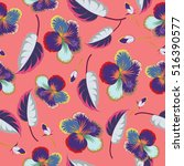seamless pattern with tropical... | Shutterstock . vector #516390577