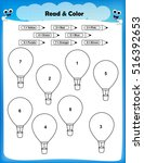 worksheet   color the balloons... | Shutterstock .eps vector #516392653
