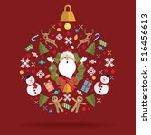 christmas decoration icon ball... | Shutterstock .eps vector #516456613