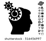 head cogs rotation pictograph... | Shutterstock .eps vector #516456997