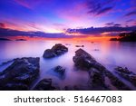 Silhouette Of Rocks On The...