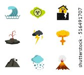 natural disasters icons set.... | Shutterstock .eps vector #516491707