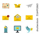 message icons set. flat... | Shutterstock .eps vector #516491863