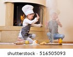 handsome blue eyed kids in chef'... | Shutterstock . vector #516505093