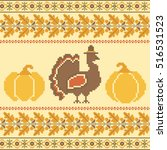 turkey and pumpkin thanksgiving ... | Shutterstock .eps vector #516531523