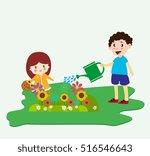 children planting flowers theme ... | Shutterstock .eps vector #516546643