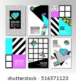 memphis cards with geometric... | Shutterstock .eps vector #516571123