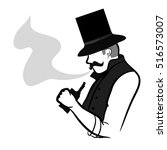 the man in the hat blows smoke     Shutterstock .eps vector #516573007