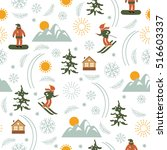 christmas illustration  ski... | Shutterstock .eps vector #516603337