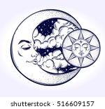 vintage hand drawn moon  sun... | Shutterstock .eps vector #516609157