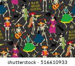 seamless pattern with skeletons.... | Shutterstock .eps vector #516610933