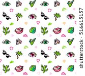 seamless pattern with fashion... | Shutterstock .eps vector #516615157