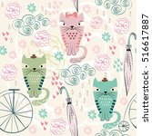 seamless pattern with cats in... | Shutterstock .eps vector #516617887