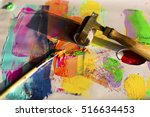brush and brayer with paint | Shutterstock . vector #516634453