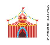 circus temporary tent in stripy ... | Shutterstock .eps vector #516639607