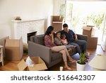 family on sofa taking a break... | Shutterstock . vector #516642307