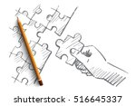 vector hand drawn puzzle hand... | Shutterstock .eps vector #516645337