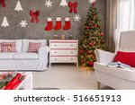 red and white living room with... | Shutterstock . vector #516651913
