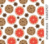 seamless christmas pattern with ... | Shutterstock .eps vector #516652927