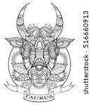 taurus zodiac sign coloring... | Shutterstock .eps vector #516660913