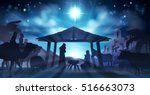 christian christmas nativity... | Shutterstock . vector #516663073