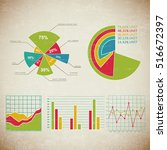 vintage chart set infographic... | Shutterstock .eps vector #516672397