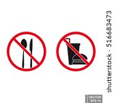 sign of prohibition. food. icon.... | Shutterstock .eps vector #516683473